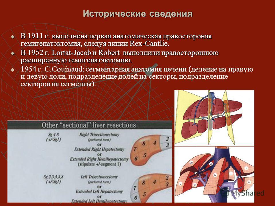 Исторические сведения В 1911 г. выполнена первая анатомическая правостороняя гемигепатэктомия, следуя линии Rex-Cantlie. В 1911 г. выполнена первая анатомическая правостороняя гемигепатэктомия, следуя линии Rex-Cantlie. В 1952 г. Lortat-Jacob и Rober