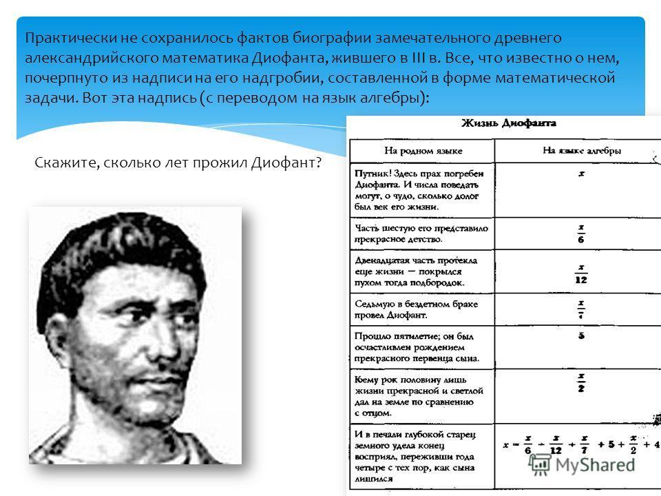 Практически не сохранилось фактов биографии замечательного древнего александрийского математика Диофанта, жившего в III в. Все, что известно о нем, почерпнуто из надписи на его надгробии, составленной в форме математической задачи. Вот эта надпись (с