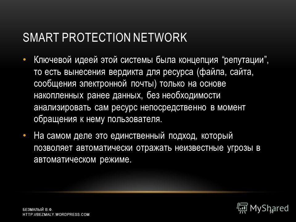 SMART PROTECTION NETWORK Ключевой идеей этой системы была концепция репутации, то есть вынесения вердикта для ресурса (файла, сайта, сообщения электронной почты) только на основе накопленных ранее данных, без необходимости анализировать сам ресурс не