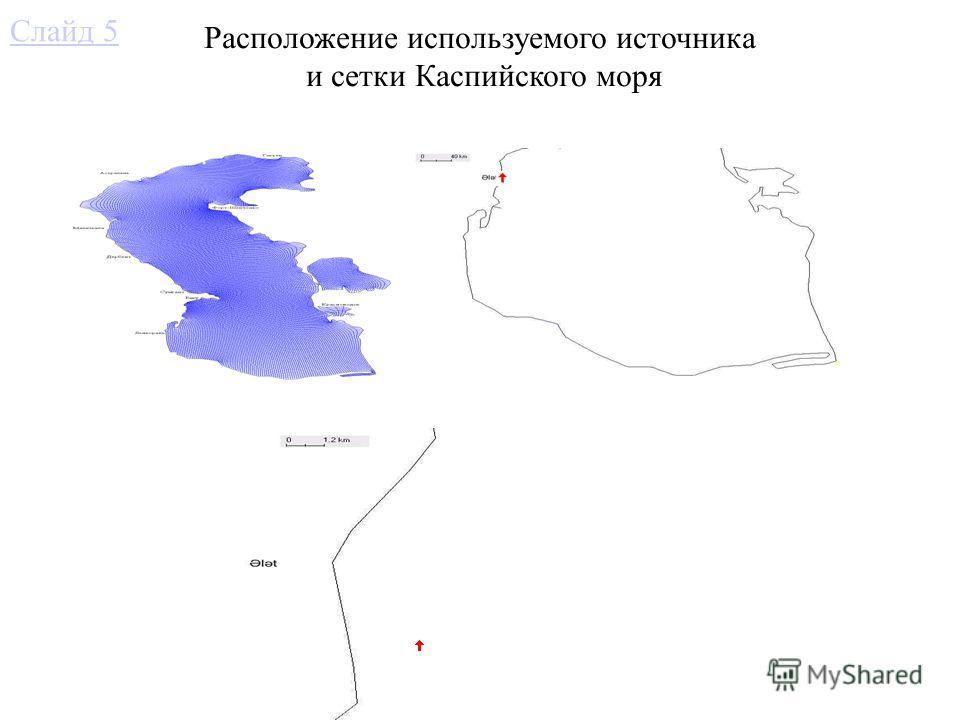Расположение используемого источника и сетки Каспийского моря Слайд 5