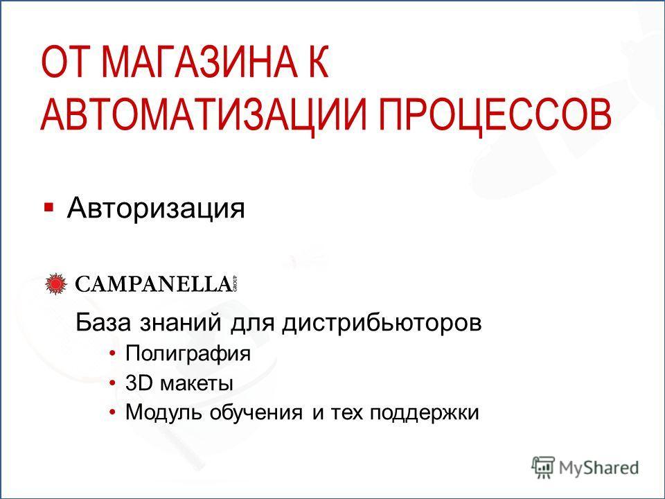 ОТ МАГАЗИНА К АВТОМАТИЗАЦИИ ПРОЦЕССОВ Авторизация База знаний для дистрибьюторов Полиграфия 3D макеты Модуль обучения и тех поддержки