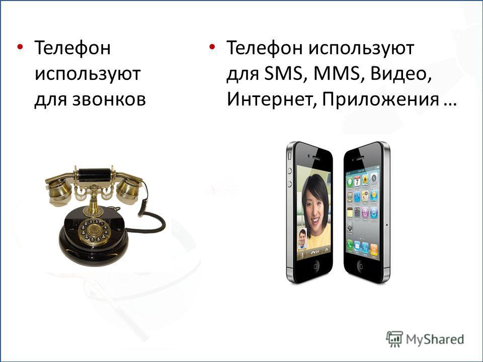 Телефон используют для звонков Телефон используют для SMS, MMS, Видео, Интернет, Приложения …