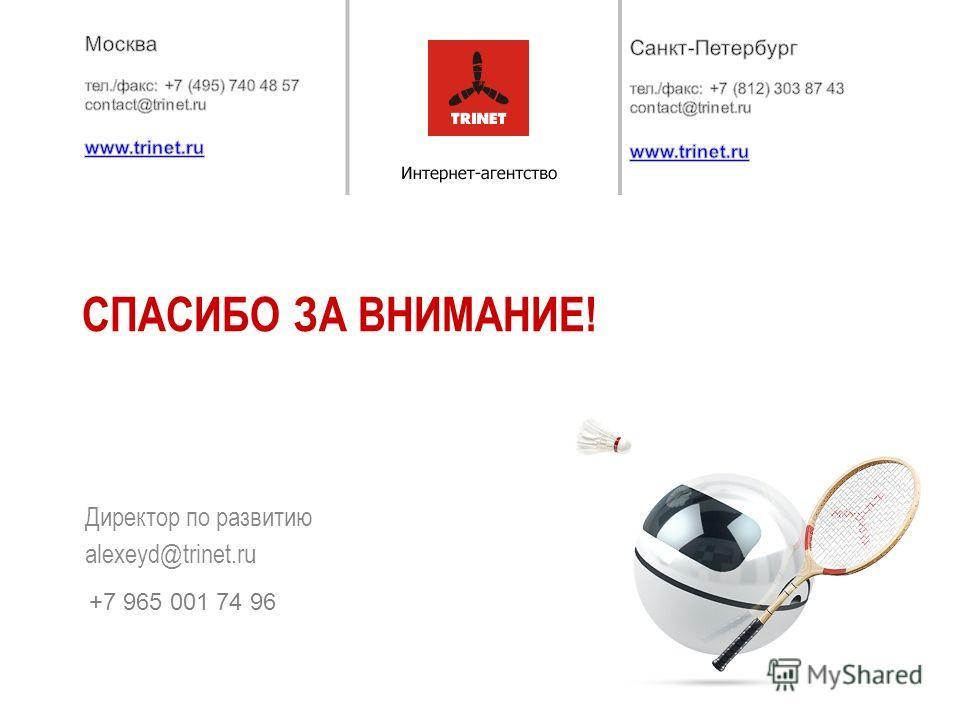Директор по развитию alexeyd@trinet.ru СПАСИБО ЗА ВНИМАНИЕ! +7 965 001 74 96