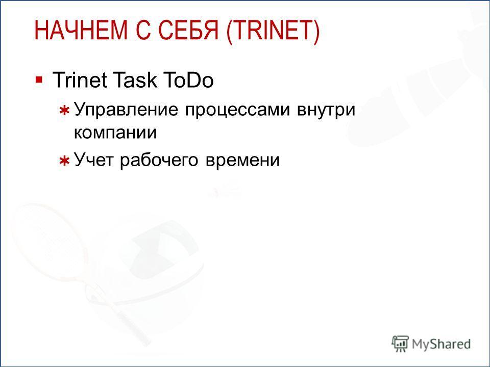 НАЧНЕМ С СЕБЯ (TRINET) Trinet Task ToDo Управление процессами внутри компании Учет рабочего времени