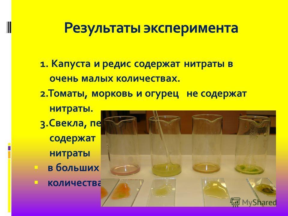 Результаты эксперимента 1. Капуста и редис содержат нитраты в очень малых количествах. 2.Томаты, морковь и огурец не содержат нитраты. 3.Свекла, петрушка листовая и салат содержат нитраты в больших количествах.