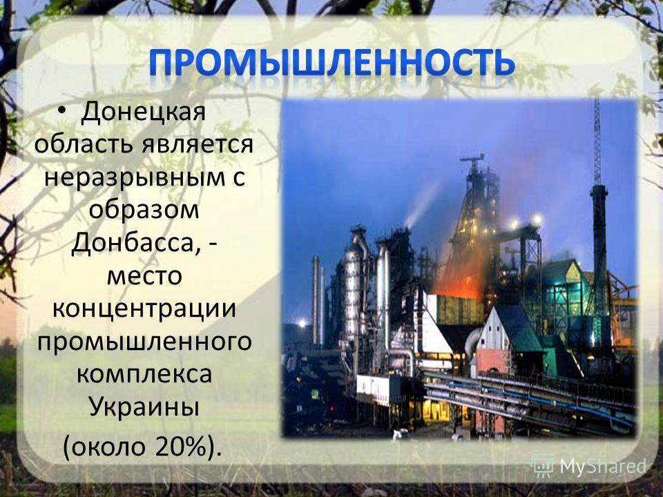 Донецкая область является неразрывным с образом Донбасса, - место концентрации промышленного комплекса Украины (около 20%).