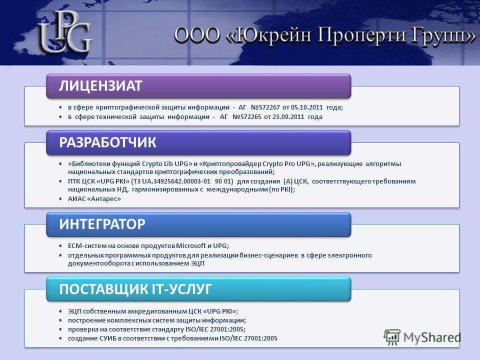 в сфере криптографической защиты информации - АГ 572267 от 05.10.2011 года; в сфере технической защиты информации - АГ 572265 от 23.09.2011 года ЛИЦЕНЗИАТ «Библиотеки функций Crypto Lib UPG» и «Криптопровайдер Crypto Pro UPG», реализующие алгоритмы н