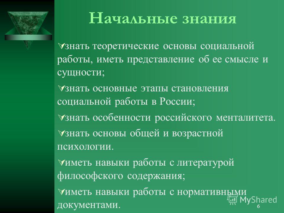 6 Начальные знания знать теоретические основы социальной работы, иметь представление об ее смысле и сущности; знать основные этапы становления социальной работы в России; знать особенности российского менталитета. знать основы общей и возрастной псих