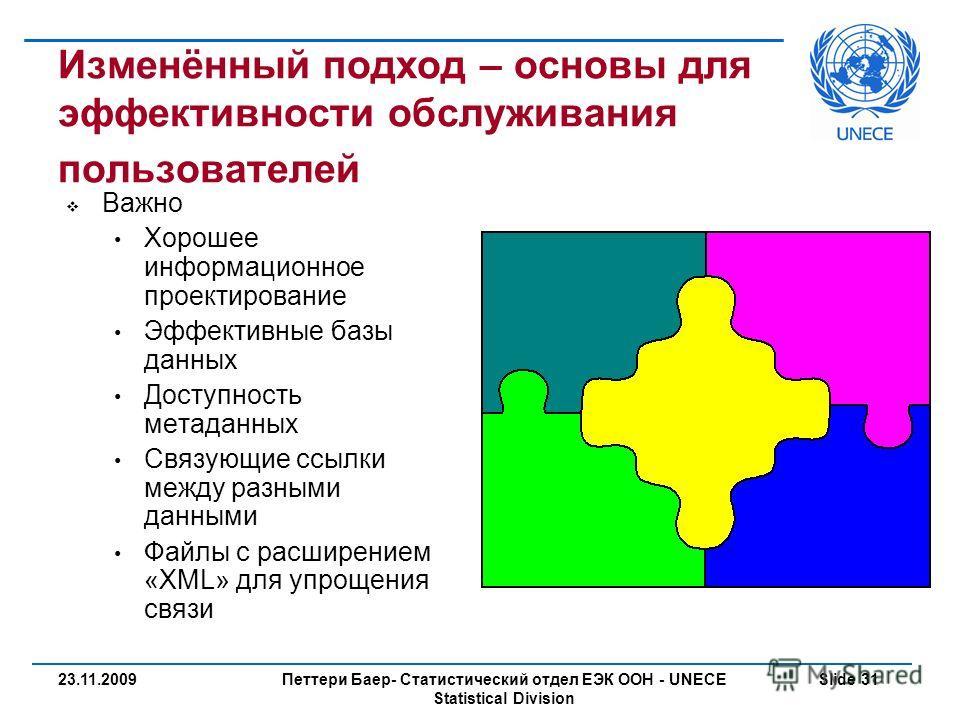Петтери Баер- Статистический отдел ЕЭК ООН - UNECE Statistical Division Slide 3123.11.2009 Изменённый подход – основы для эффективности обслуживания пользователей Важно Хорошее информационное проектирование Эффективные базы данных Доступность метадан