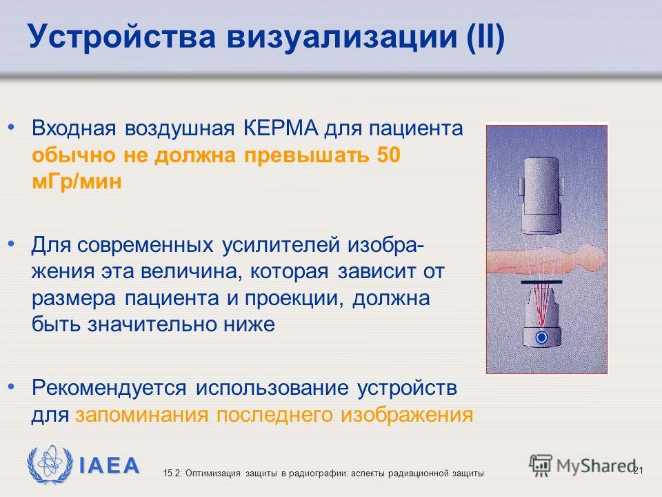 IAEA 15.2: Оптимизация защиты в радиографии: аспекты радиационной защиты 21 Устройства визуализации (II) Входная воздушная КЕРМА для пациента обычно не должна превышать 50 мГр/мин Для современных усилителей изобра- жения эта величина, которая зависит
