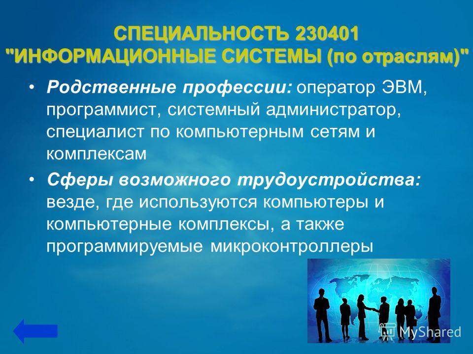 СПЕЦИАЛЬНОСТЬ 230401