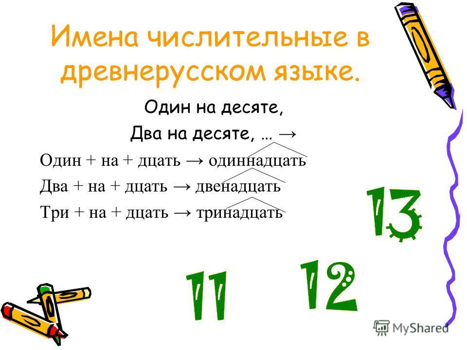 Имена числительные в древнерусском языке. Один на десяте, Два на десяте, … Один + на + дцать одиннадцать Два + на + дцать двенадцать Три + на + дцать тринадцать