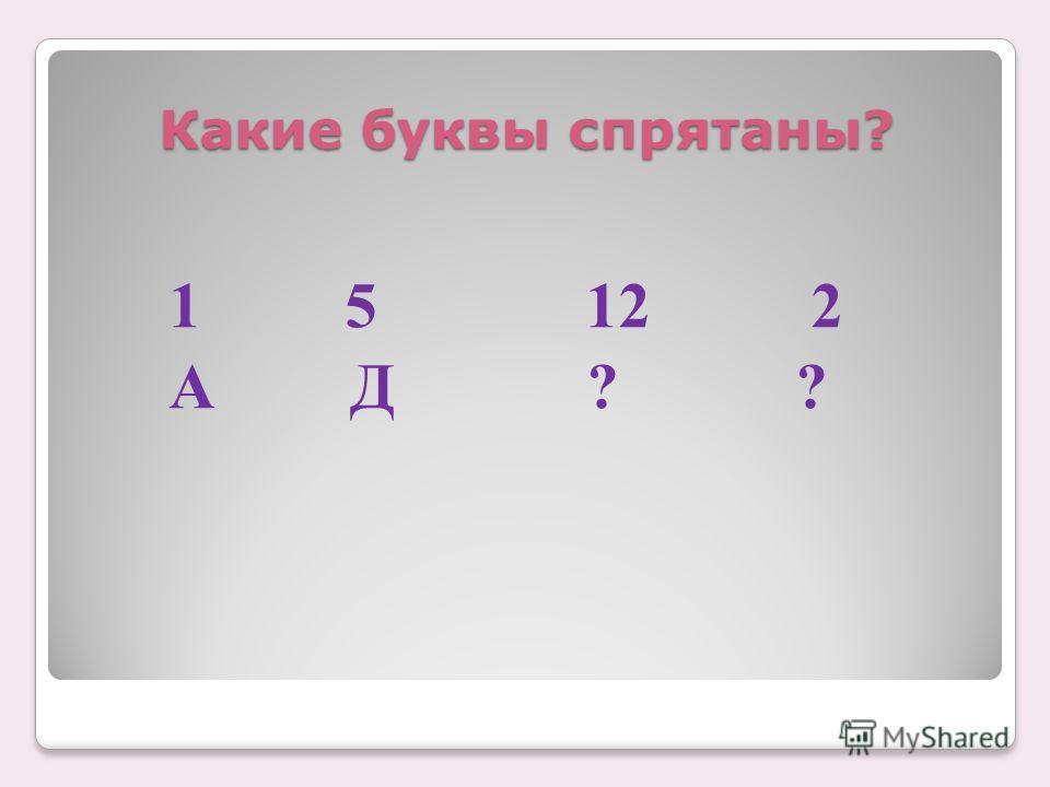 Какие буквы спрятаны? 1 5 12 2 А Д ? ?