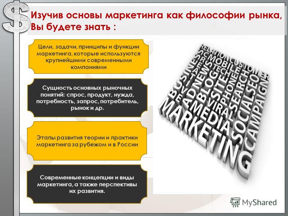 Цели, задачи, принципы и функции маркетинга, которые используются крупнейшими современными компаниями Сущность основных рыночных понятий: спрос, продукт, нужда, потребность, запрос, потребитель, рынок и др. Изучив основы маркетинга как философии рынк