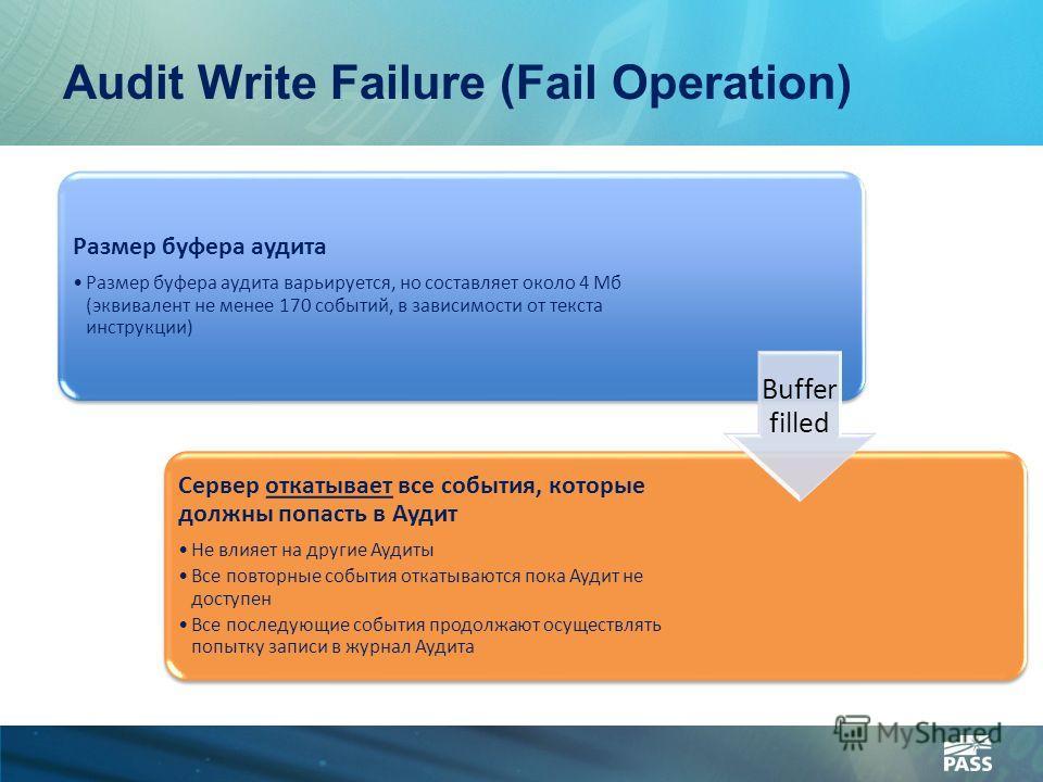 Audit Write Failure (Fail Operation) Размер буфера аудита Размер буфера аудита варьируется, но составляет около 4 Мб (эквивалент не менее 170 событий, в зависимости от текста инструкции) Сервер откатывает все события, которые должны попасть в Аудит Н
