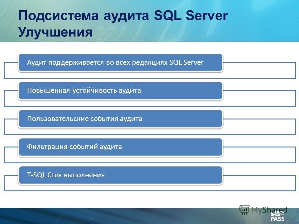 Подсистема аудита SQL Server Улучшения Аудит поддерживается во всех редакциях SQL ServerПовышенная устойчивость аудитаПользовательские события аудитаФильтрация событий аудитаT-SQL Стек выполнения