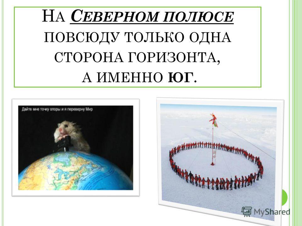 Е СТЬ ЛИ НА ЗЕМЛЕ ТАКОЕ МЕСТО, ОТКУДА, КУДА НИ ПОВЕРНИСЬ, ВСЕ БУДЕТ ЮГ ? Н И СЕВЕРА, НИ ВОСТОКА, НИ ЗАПАДА ? О ДИН ЮГ !