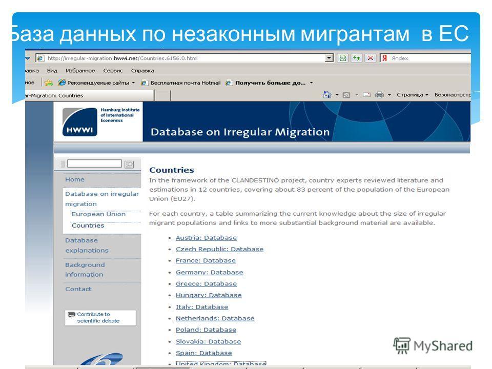 23 База данных по незаконным мигрантам в ЕС