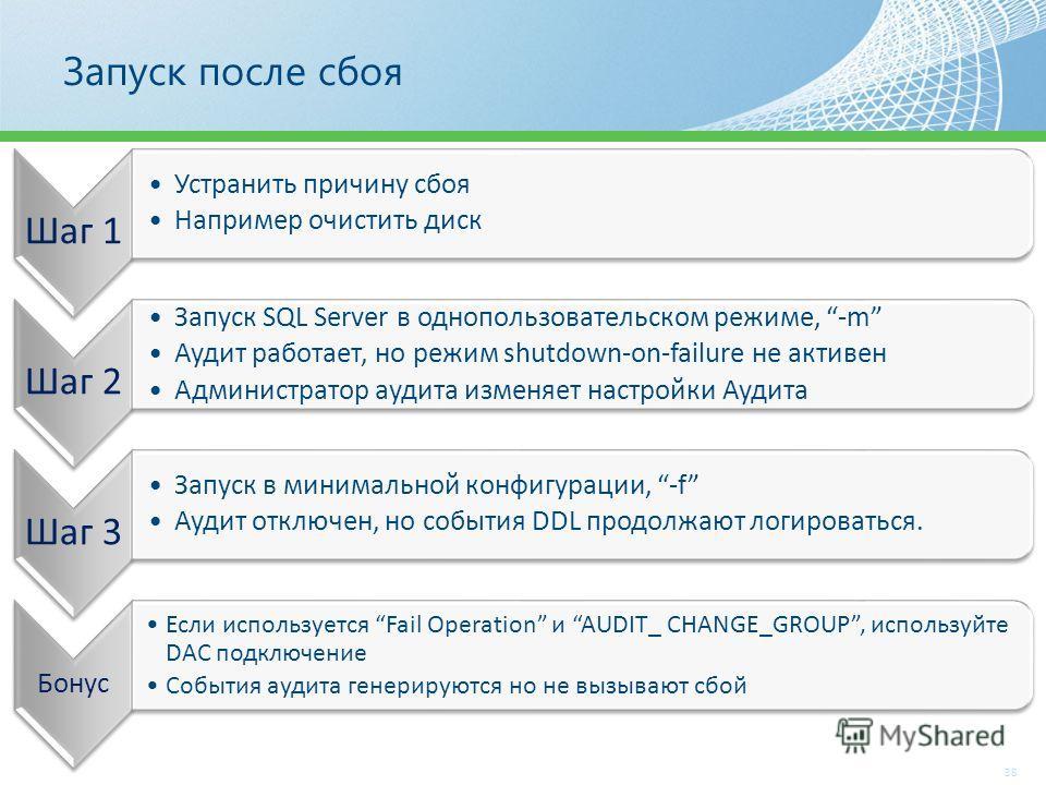 Запуск после сбоя 38 Шаг 1 Устранить причину сбоя Например очистить диск Шаг 2 Запуск SQL Server в однопользовательском режиме, -m Аудит работает, но режим shutdown-on-failure не активен Администратор аудита изменяет настройки Аудита Шаг 3 Запуск в м