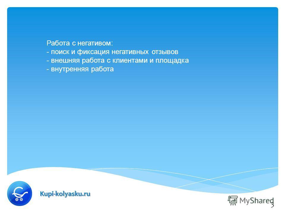 Kupi-kolyasku.ru Работа с негативом: - поиск и фиксация негативных отзывов - внешняя работа с клиентами и площадка - внутренняя работа 3