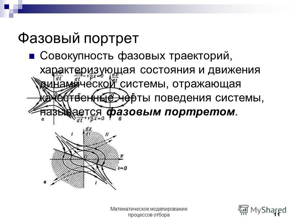 Фазовый портрет Совокупность фазовых траекторий, характеризующая состояния и движения динамической системы, отражающая качественные черты поведения системы, называется фазовым портретом. Математическое моделирование процессов отбора11