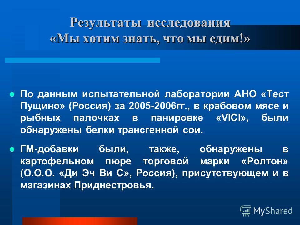 Результаты исследования «Мы хотим знать, что мы едим!» По данным испытательной лаборатории АНО «Тест Пущино» (Россия) за 2005-2006гг., в крабовом мясе и рыбных палочках в панировке «VICI», были обнаружены белки трансгенной сои. ГМ-добавки были, также