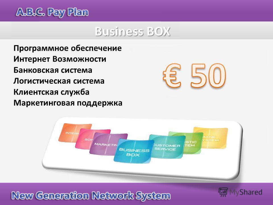 Программное обеспечение Интернет Возможности Банковская система Логистическая система Клиентская служба Маркетинговая поддержка Business BOX