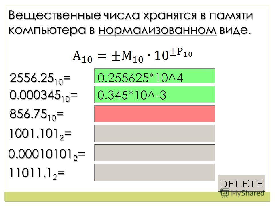 2 Вещественные числа хранятся в памяти компьютера в нормализованном виде. 2556.25 10 = 0.000345 10 = 856.75 10 = 1001.101 2 = 0.00010101 2 = 11011.1 2 =