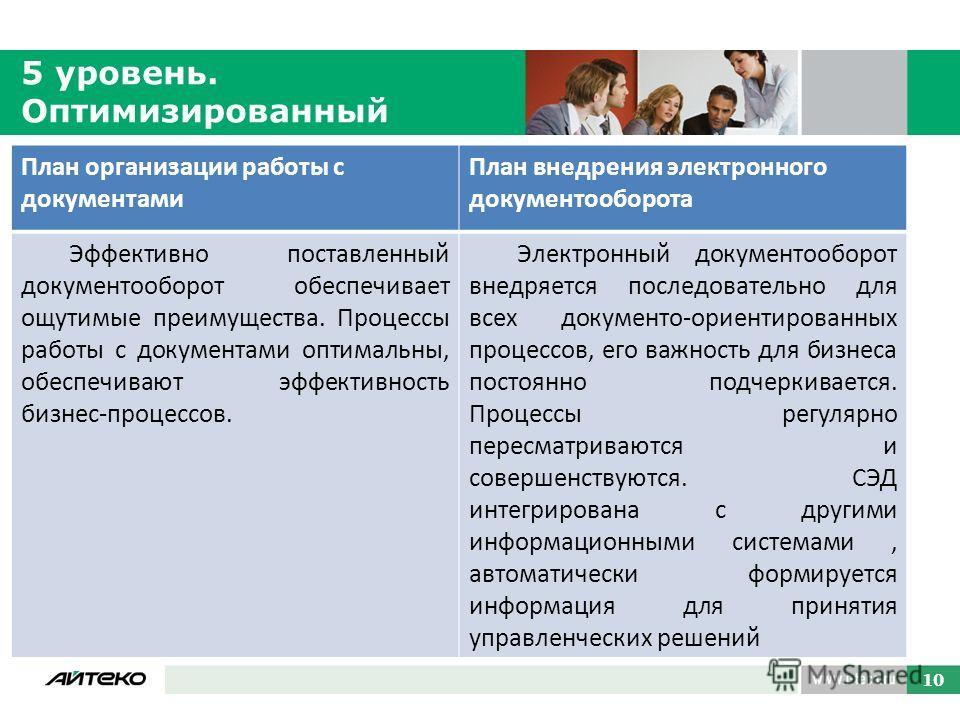 10 5 уровень. Оптимизированный 10 План организации работы с документами План внедрения электронного документооборота Эффективно поставленный документооборот обеспечивает ощутимые преимущества. Процессы работы с документами оптимальны, обеспечивают эф