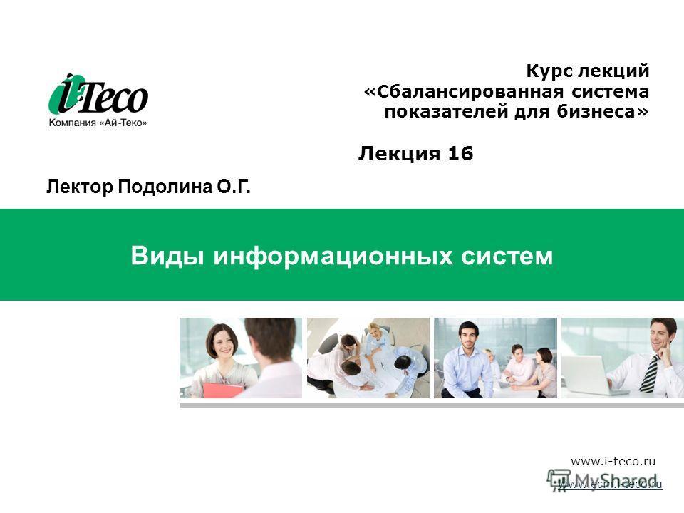 45 Виды информационных систем www.i-teco.ru Структура Сбалансированной системы показателей Курс лекций «Сбалансированная система показателей для бизнеса» www.ecm.i-teco.ru Лекция 16 Лектор Подолина О.Г.