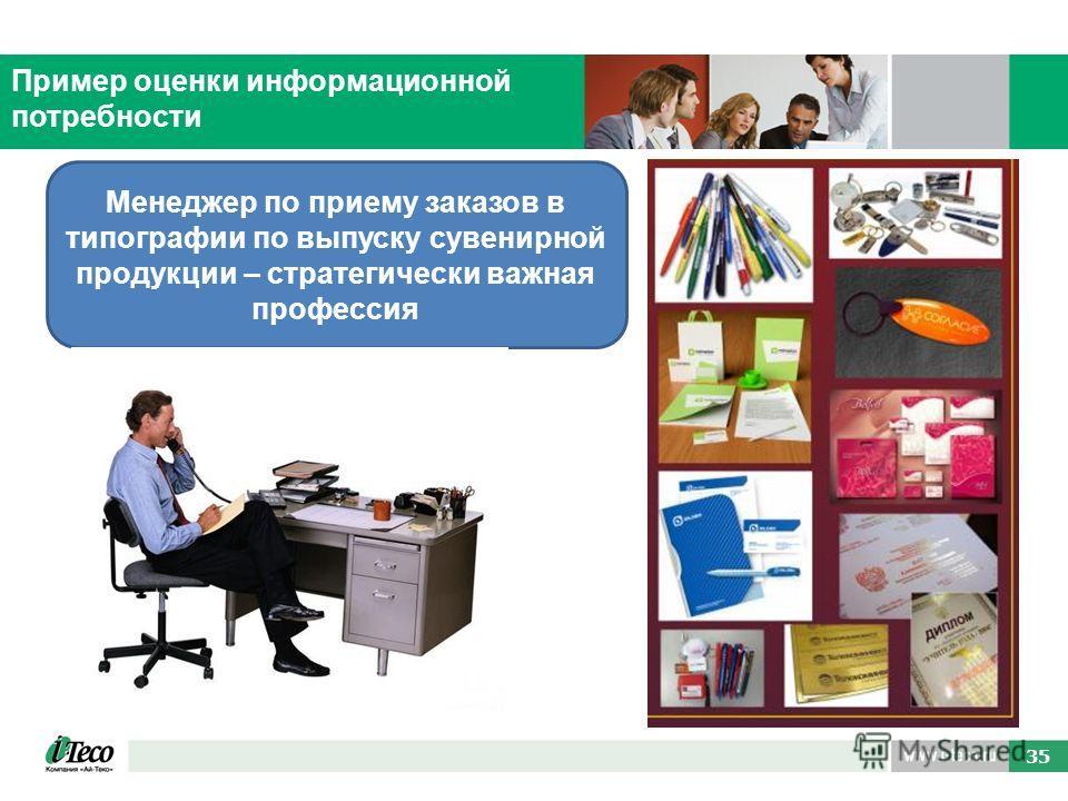 63 35 Пример оценки информационной потребности Менеджер по приему заказов в типографии по выпуску сувенирной продукции – стратегически важная профессия