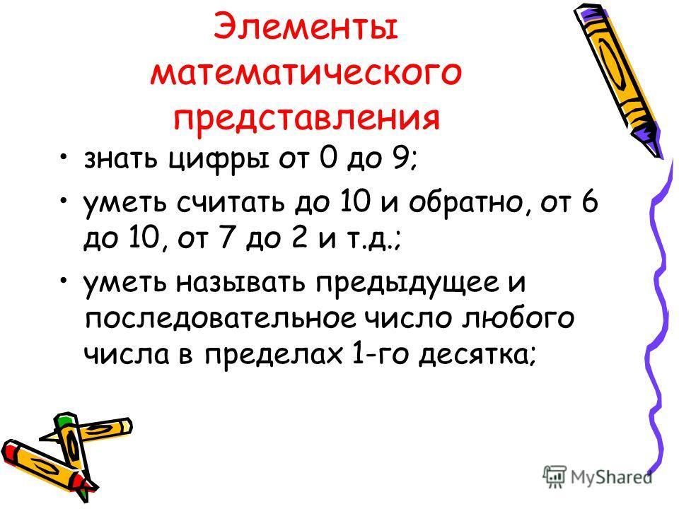 Элементы математического представления знать цифры от 0 до 9; уметь считать до 10 и обратно, от 6 до 10, от 7 до 2 и т.д.; уметь называть предыдущее и последовательное число любого числа в пределах 1-го десятка;