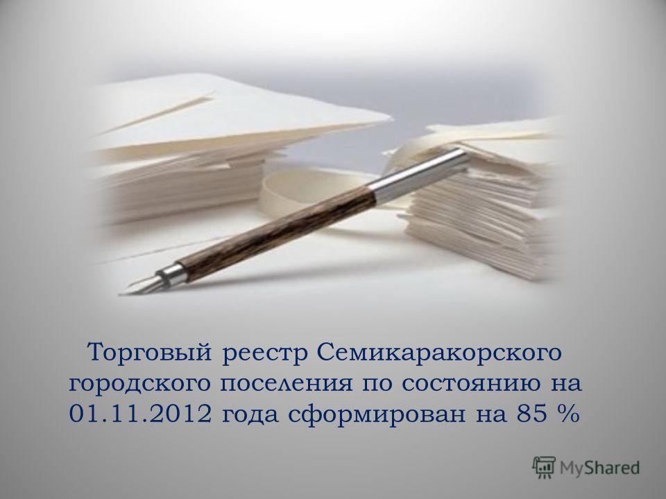 Торговый реестр Семикаракорского городского поселения по состоянию на 01.11.2012 года сформирован на 85 %