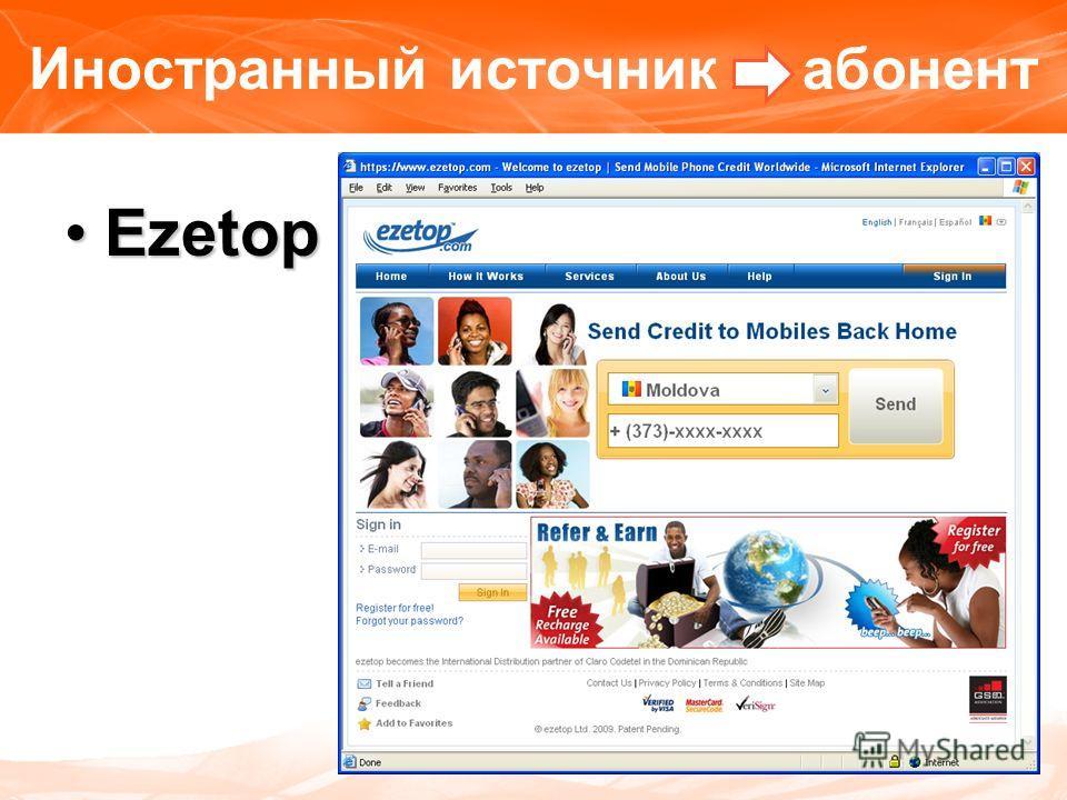 Иностранный источник абонент EzetopEzetop