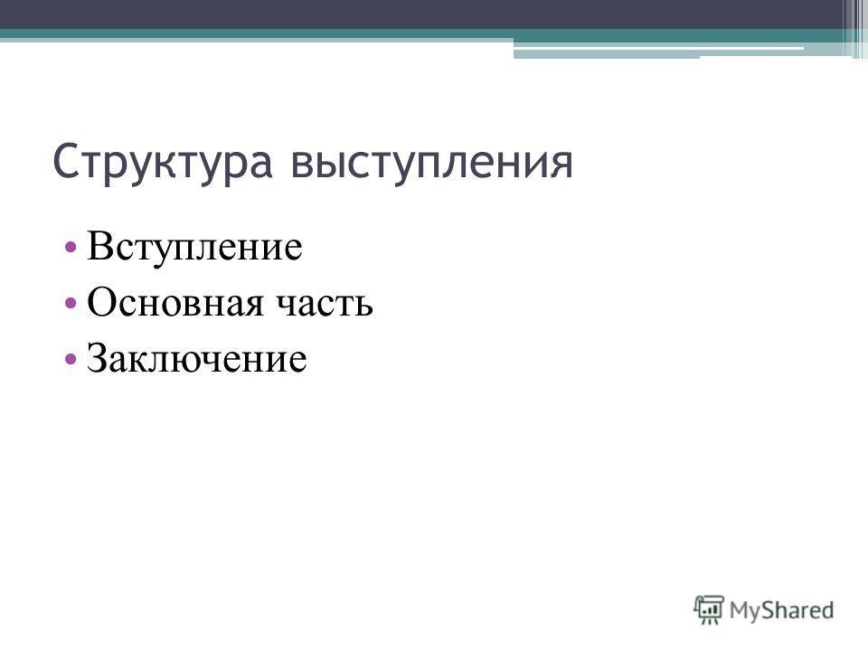 Структура выступления Вступление Основная часть Заключение