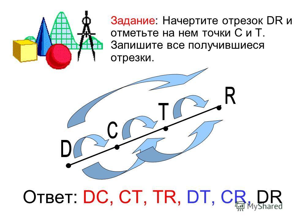Задание: Начертите отрезок DR и отметьте на нем точки С и Т. Запишите все получившиеся отрезки. Ответ: DC, CT, TR, DT, СR, DR