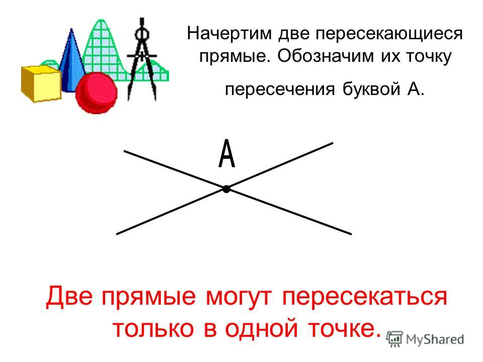 Начертим две пересекающиеся прямые. Обозначим их точку пересечения буквой А. Две прямые могут пересекаться только в одной точке.