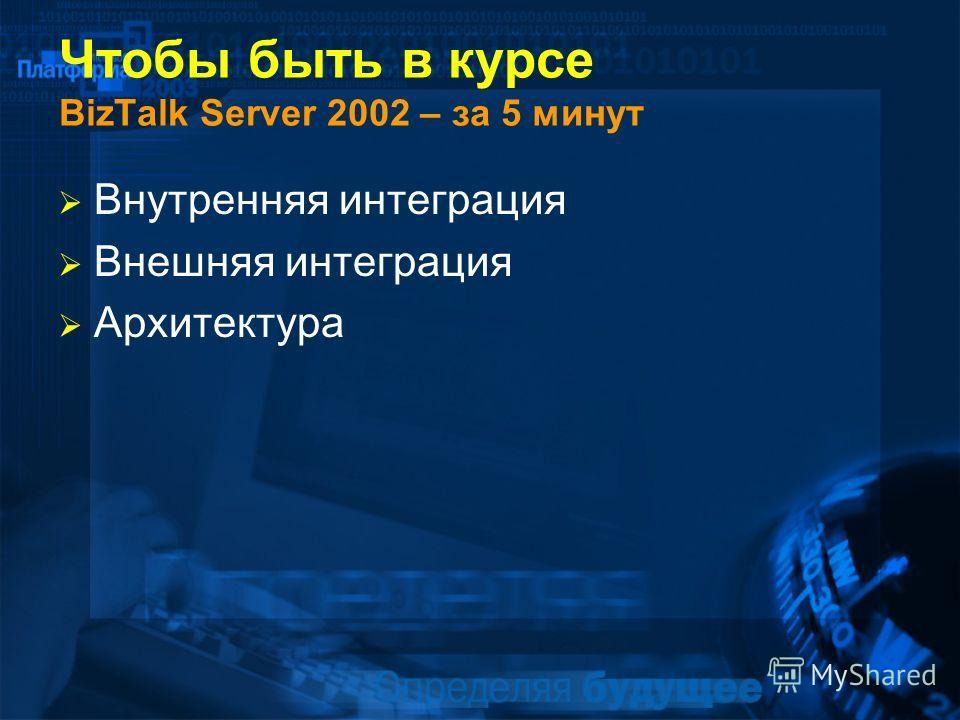 Чтобы быть в курсе BizTalk Server 2002 – за 5 минут Внутренняя интеграция Внешняя интеграция Архитектура