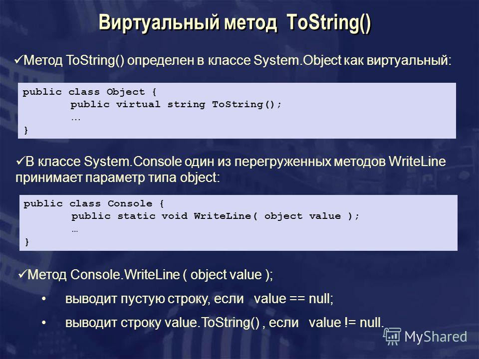 Виртуальный метод ToString() Метод ToString() определен в классе System.Object как виртуальный: public class Object { public virtual string ToString(); … } public class Console { public static void WriteLine( object value ); … } В классе System.Conso