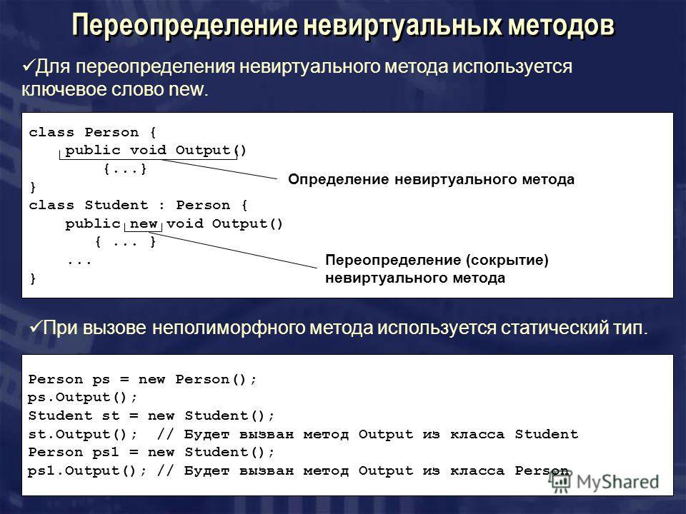 Переопределение невиртуальных методов Для переопределения невиртуального метода используется ключевое слово new. class Person { public void Output() {...} } class Student : Person { public new void Output() {... }... } Определение невиртуального мето