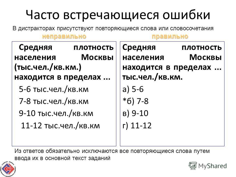 Часто встречающиеся ошибки Средняя плотность населения Москвы (тыс.чел./кв.км.) находится в пределах... 5-6 тыс.чел./кв.км 7-8 тыс.чел./кв.км 9-10 тыс.чел./кв.км 11-12 тыс.чел./кв.км Средняя плотность населения Москвы находится в пределах... тыс.чел.