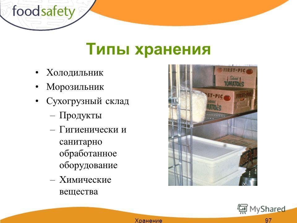 97 Типы хранения Холодильник Морозильник Сухогрузный склад –Продукты –Гигиенически и санитарно обработанное оборудование –Химические вещества