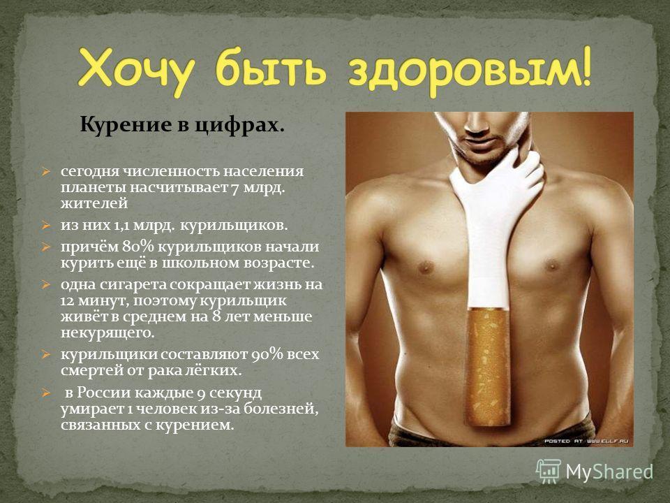 Курение в цифрах. сегодня численность населения планеты насчитывает 7 млрд. жителей из них 1,1 млрд. курильщиков. причём 80% курильщиков начали курить ещё в школьном возрасте. одна сигарета сокращает жизнь на 12 минут, поэтому курильщик живёт в средн