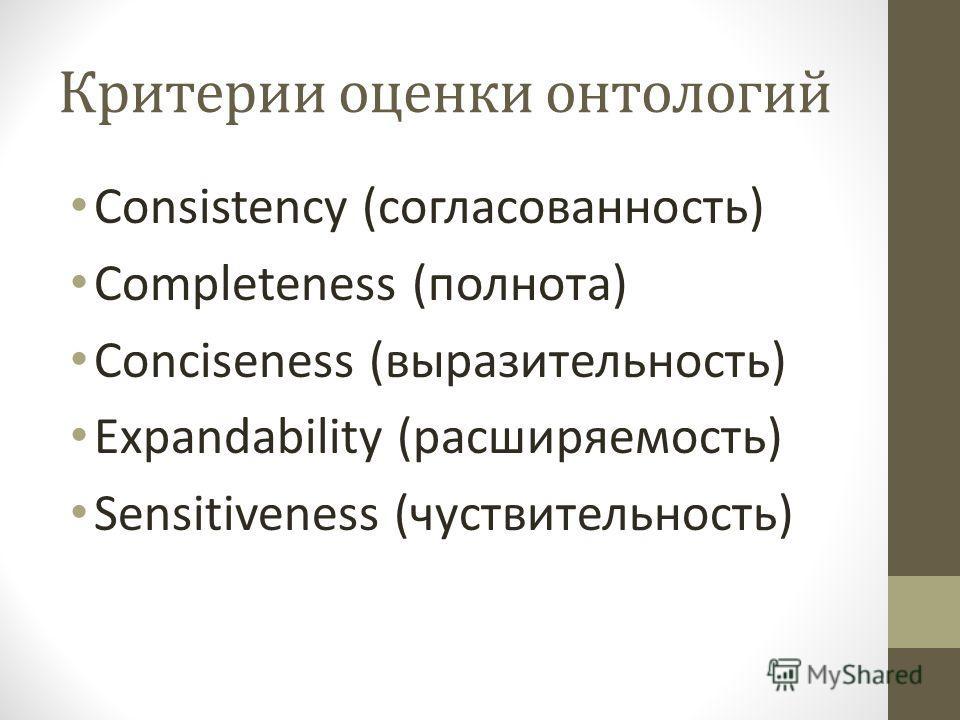 Критерии оценки онтологий Consistency (согласованность) Completeness (полнота) Conciseness (выразительность) Expandability (расширяемость) Sensitiveness (чуствительность)