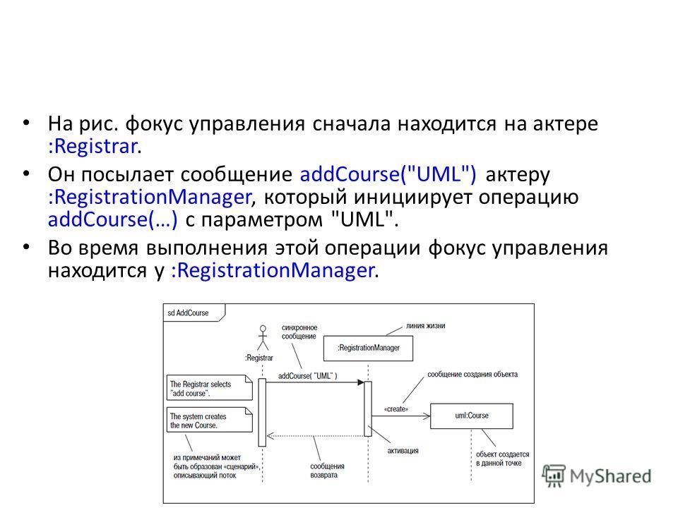 На рис. фокус управления сначала находится на актере :Registrar. Он посылает сообщение addCourse(