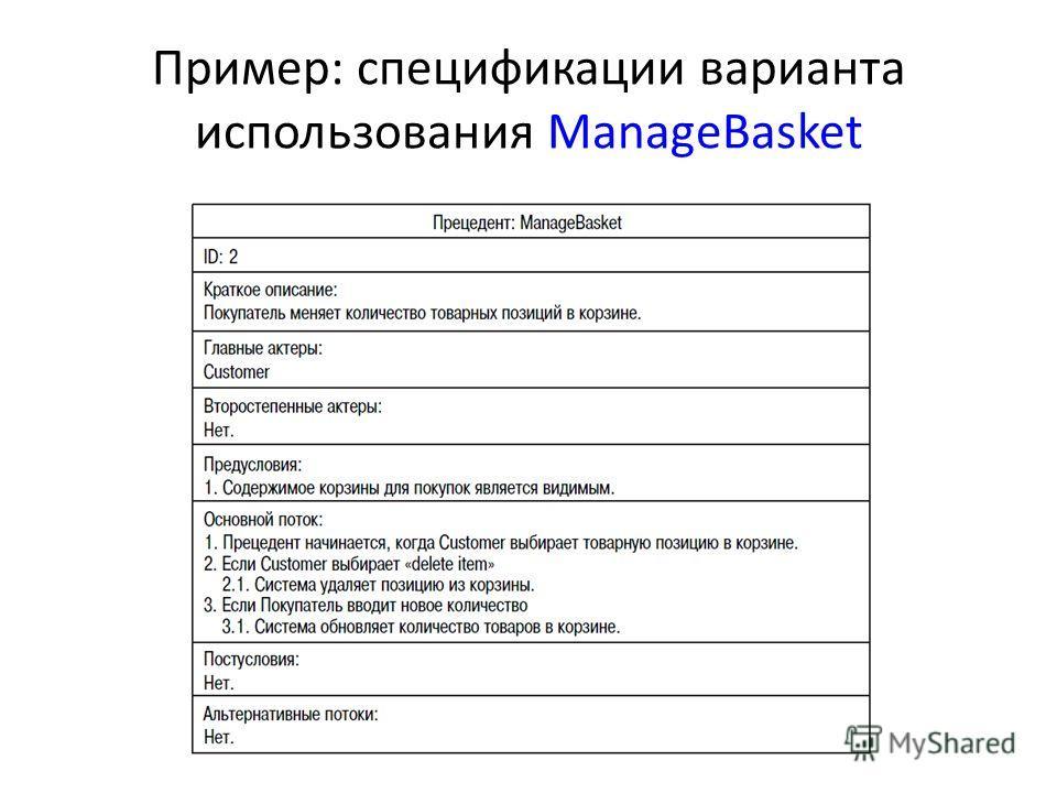 Пример: спецификации варианта использования ManageBasket