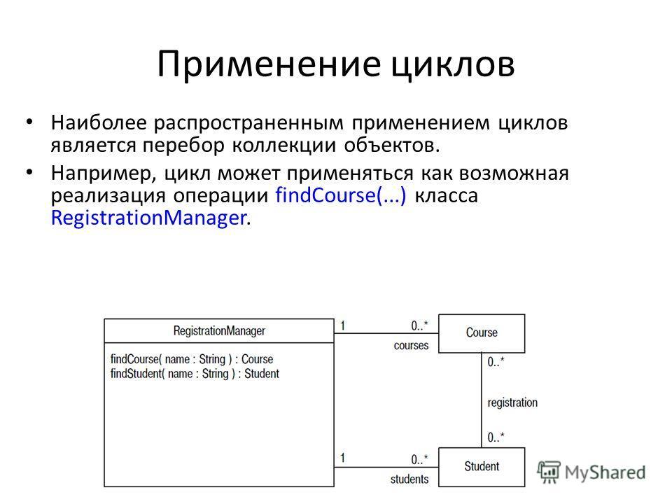 Применение циклов Наиболее распространенным применением циклов является перебор коллекции объектов. Например, цикл может применяться как возможная реализация операции findCourse(...) класса RegistrationManager.
