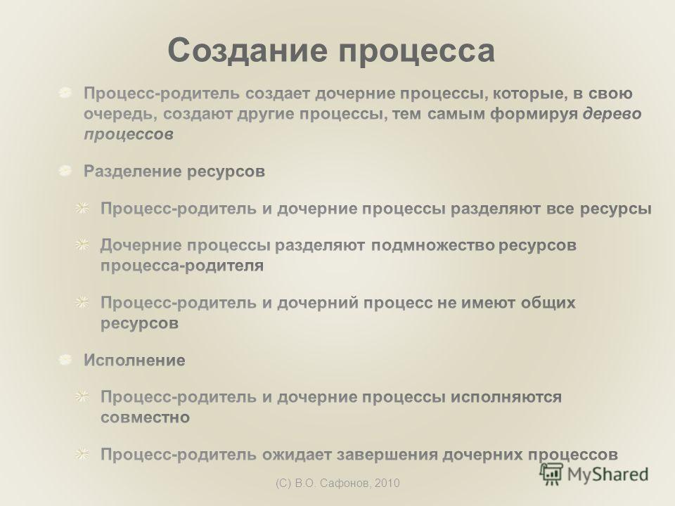 (C) В.О. Сафонов, 2010 Создание процесса