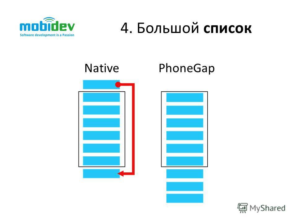 4. Большой список NativePhoneGap