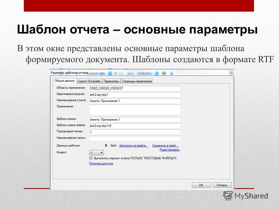 Шаблон отчета – основные параметры В этом окне представлены основные параметры шаблона формируемого документа. Шаблоны создаются в формате RTF